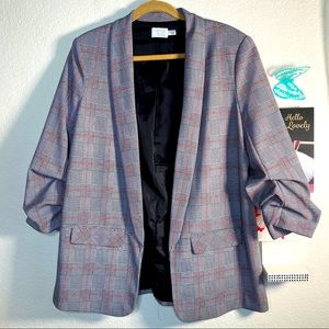 Time & true long blazer jacket scrunched arms